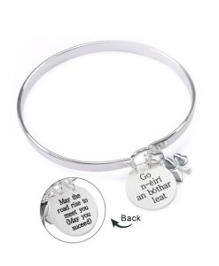 May The Road Rise To Meet You - Go N'ÉIrã­ An Bã³Thar Leat Beautiful Silver Bangle