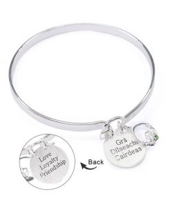 Love Loyalty Friendship - Grã¡ Dã­Lseach Cairdeas Beautiful Silver Bangle