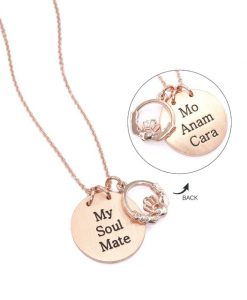 My Soul Mate - Mo Anam Chara - Beautiful Contemporary Rose Gold Plated Pendant