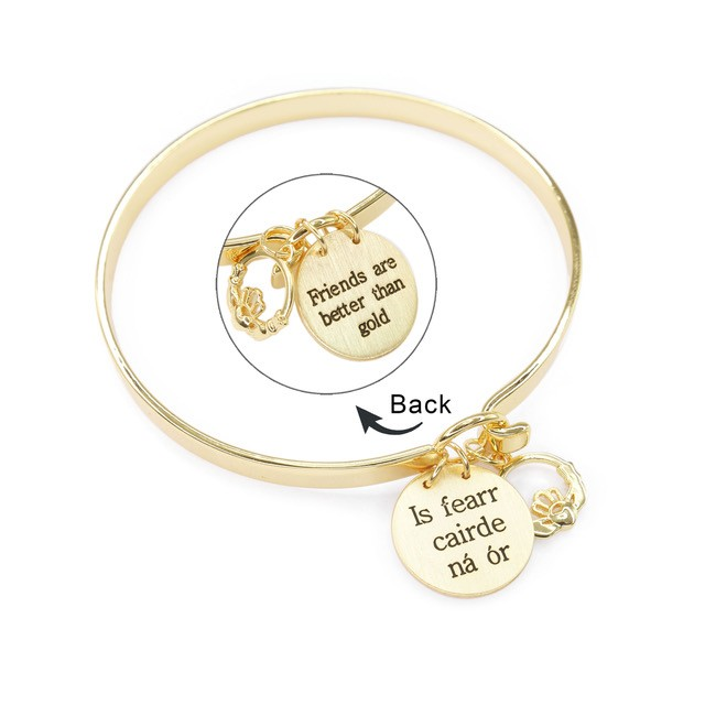 "Friends Are Better Than Gold - Is Fearr Cairde Nã¡ Ã""R Beautiful Contemporary Gold Plated Bangle"