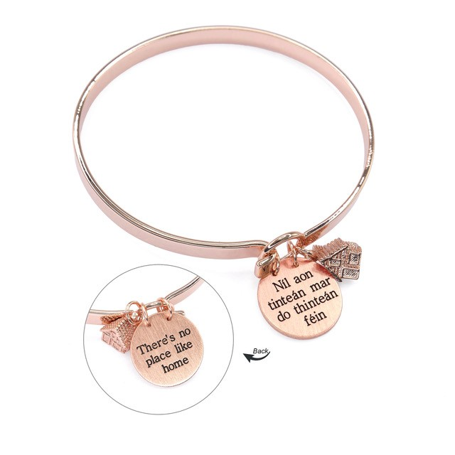 There Is No Place Like Home - NãL Aon Tinteã¡N Mar Do Thinteã¡N Fã©In Beautiful Rose Gold Plated Bangle