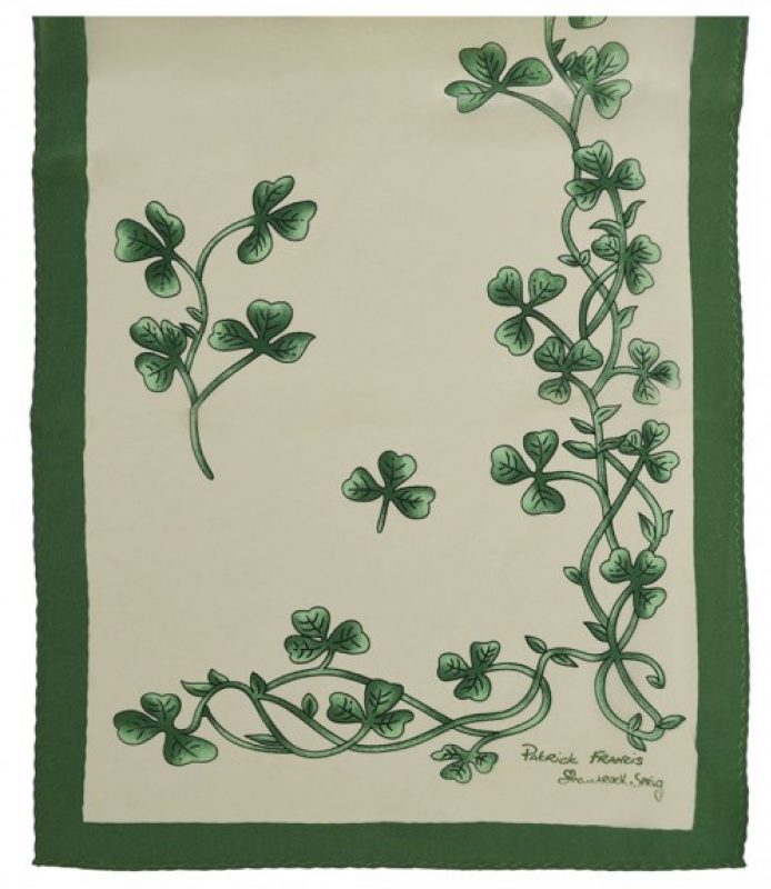 Silk Cream & Green Shamrock Sprig Scarf