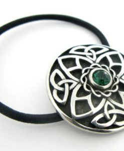 Irish Trinity Knots With Green Stone Hair Bobbin