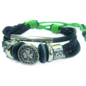 Genuine Black Leather Bracelet With Trinity And Shamrock