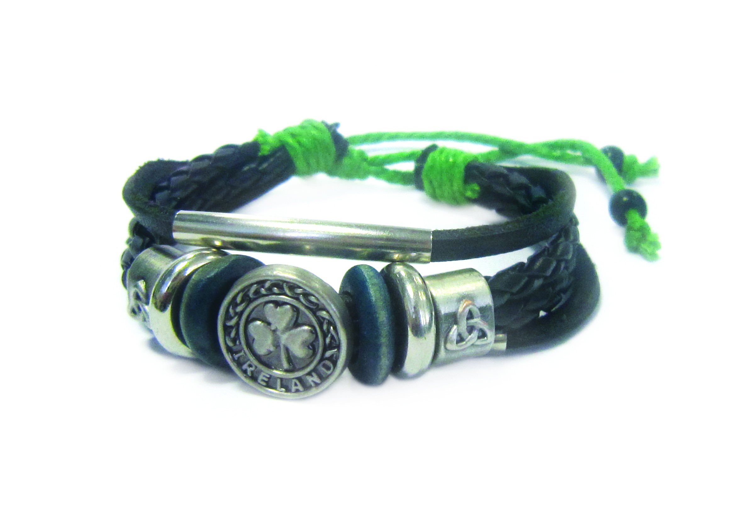 Genuine Black Leather Bracelet With Trinity And Shamrock