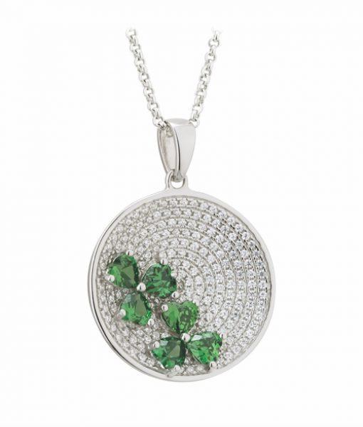 Sterling Silver Green Crystal Irish Shamrock Pendant