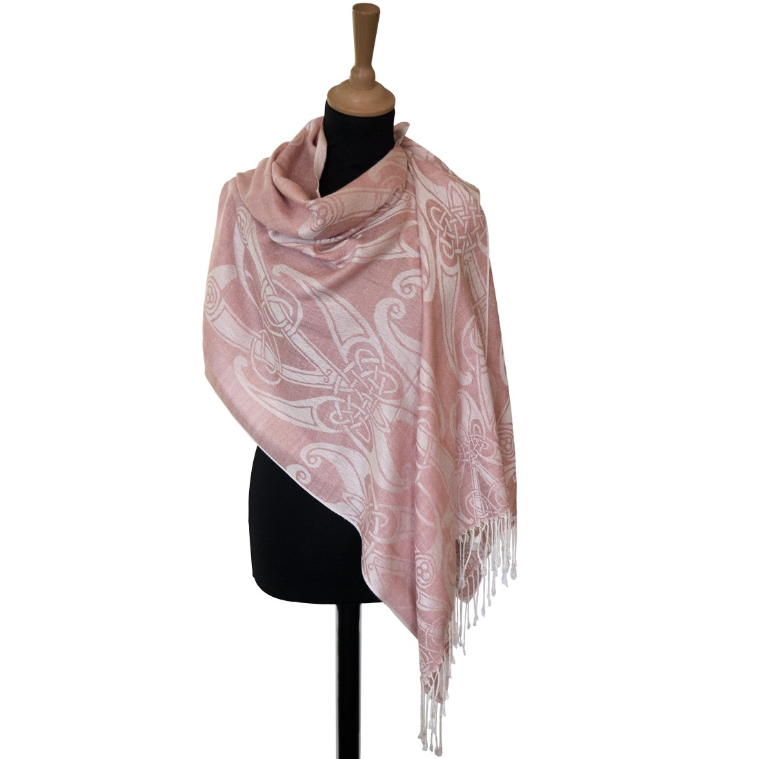 BLUSH BOOK OF KELLS MOTIF PASHMINA SCARF