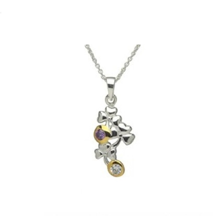 Shamrock Pendant With Gold Plated Design And Amethyst