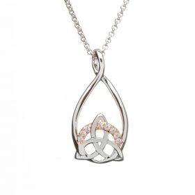 Silver Trinity Pendant With Cz Set In Rose Gold