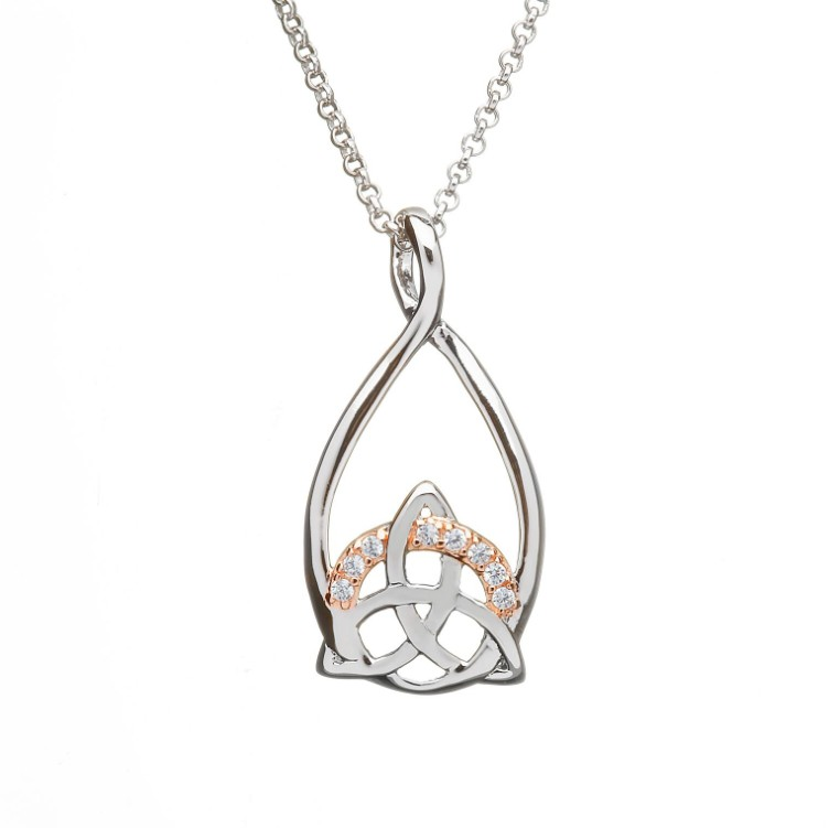 Silver trinity pendant with cz set in rose gold celtic thunder store silver trinity pendant with cz set in rose gold aloadofball Gallery