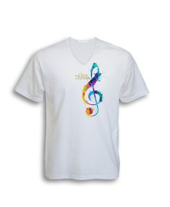 "Celtic Thunder "" G Clef "" White V Neck Tee"