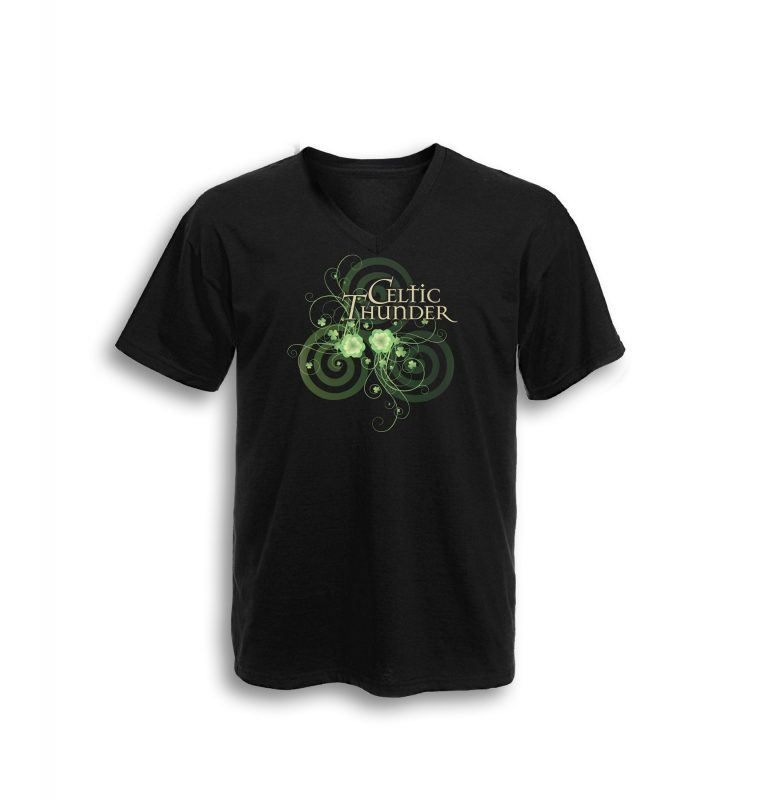 Celtic Spiral Filigree V Neck Tee Black