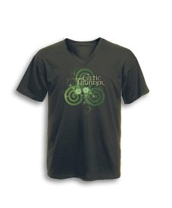 Celtic Spiral Filigree V Neck Tee Classic Olive