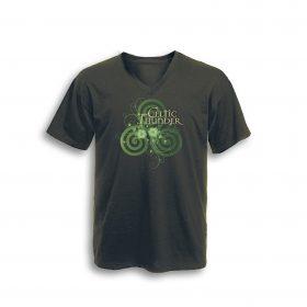 Celtic Spiral Filigree V Neck Tee Classic Olive