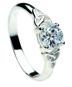 Sterling Silver Diamond Trinity Knot Ring