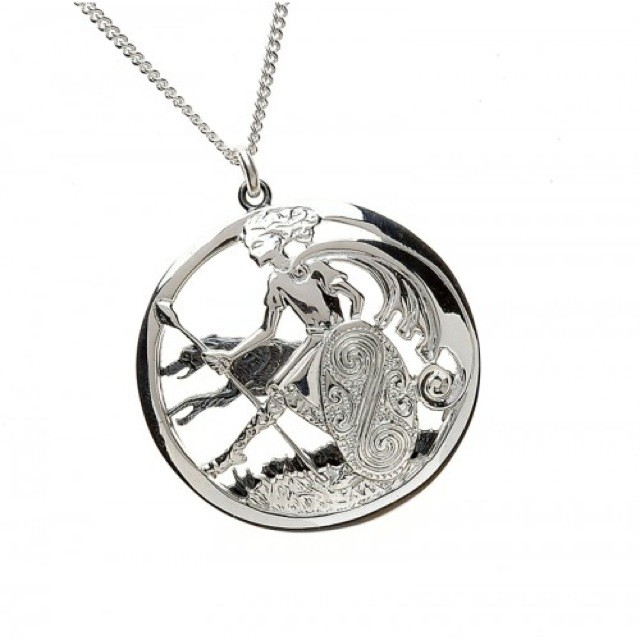 Warrior And Wolfhound Pendant & Sterling Silver 20 Inch Curb Chain