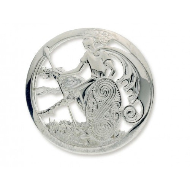 Warrior And Wolfhound Brooch In Sterling Silver