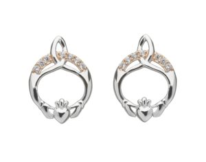 sterling small earrings claddagh plain stud silver