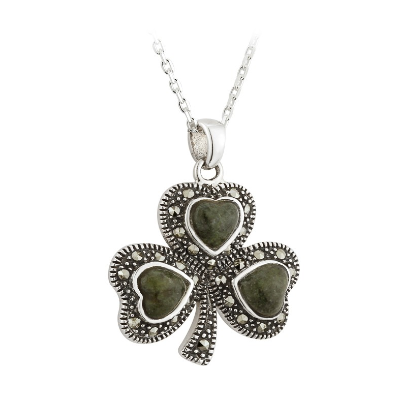 Shamrock pendant with marcasite stones and connemara marble celtic shamrock pendant with marcasite stones and connemara marble celtic thunder store audiocablefo