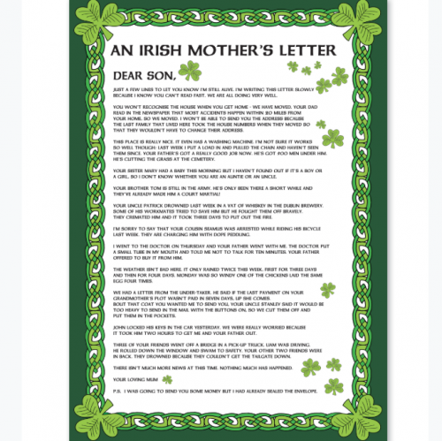 Mothers Letter To Son Tea Towel